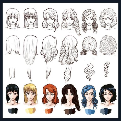 hairstyles drawing girl hair styles straight to curly by foreverfornever740 on