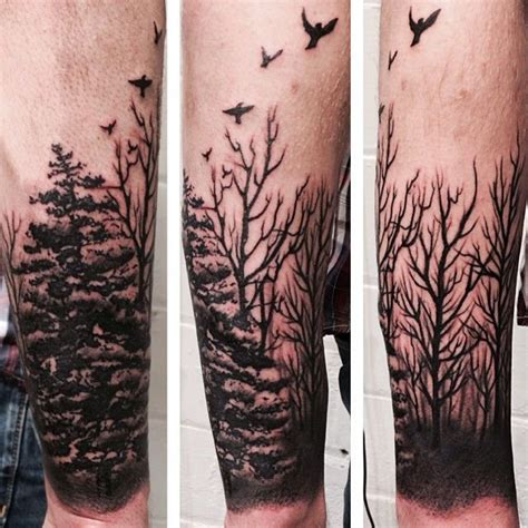 forest sleeve tattoos forearm tree tattoos trees sleeve