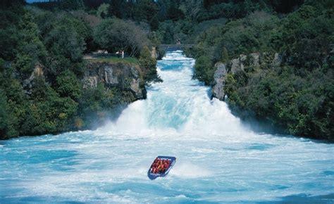 jet boat up waterfall huka falls taupo new zealand my hometown surrounds