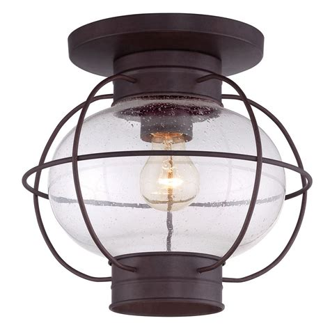 Outdoor Lighting Ceiling Seeded Glass To Ceiling Light Bronze Quoizel Lighting Cor1611cu Destination Lighting
