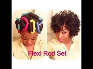 flexi rod set on straightened 4b 4c natural hair i am