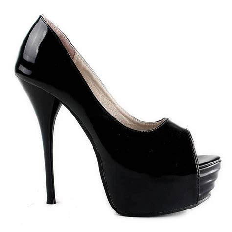 high heel peep toe platform black wedding bridal shoes