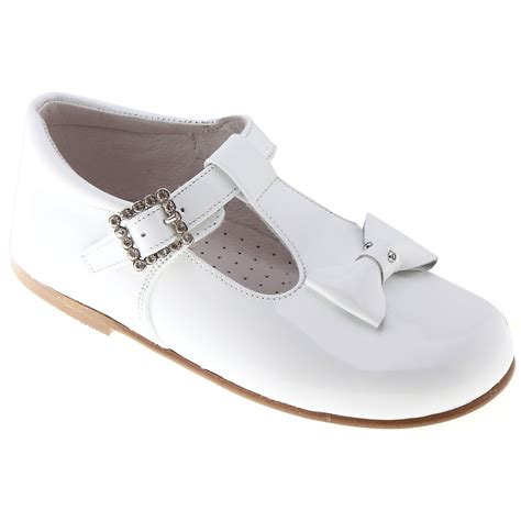 baby and toddler white patent shoes with t bar