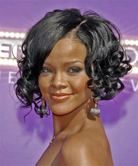black hairstyles rihanna rihanna medium curly formal hairstyle black