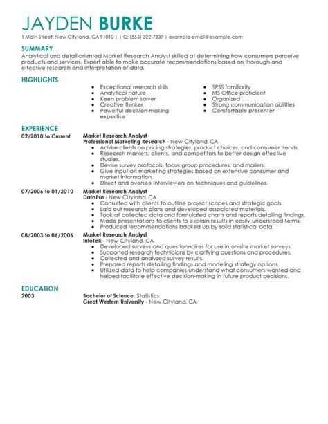 marketing research resume exles best market researcher resume exle livecareer