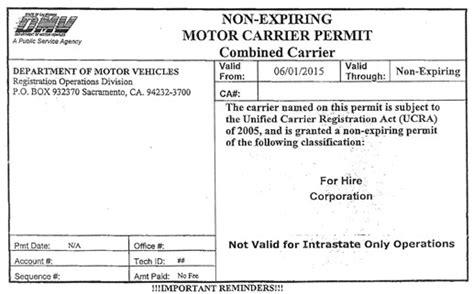 Topi Trucker Form Is Temporary 1 non expiring motor carrier permit western states trucking association wsta