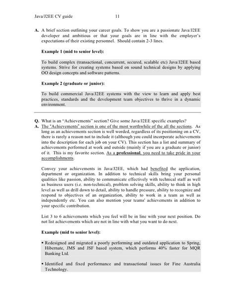 Sle Resume For Java J2ee Developer Java Projects For Resume 57 Images Resume Sle Java Resume Sles Senior Java Developer Resume