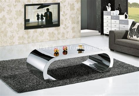 Stainless Steel Glass Center Table Coffee Table For Living Centre Tables For Living Rooms
