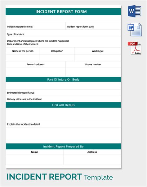 aid incident report template 24 incident report template free sle exle