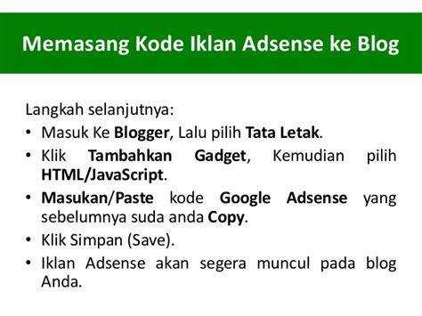 Adsense Pada Blog | cara memasang google adsense