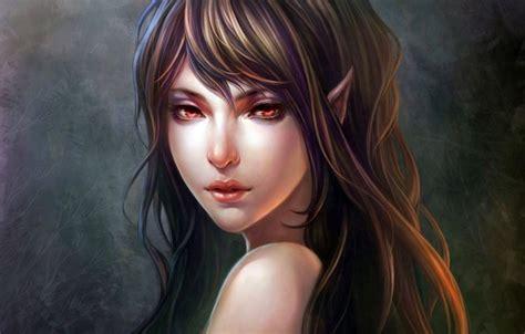 oboi girl fantasy long hair dress blue eyes face artist blonde elf