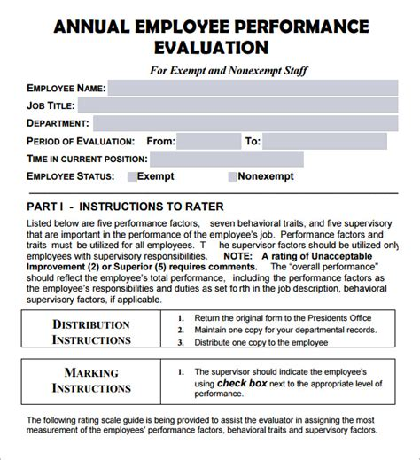 annual review template search results for employee self evaluation exles