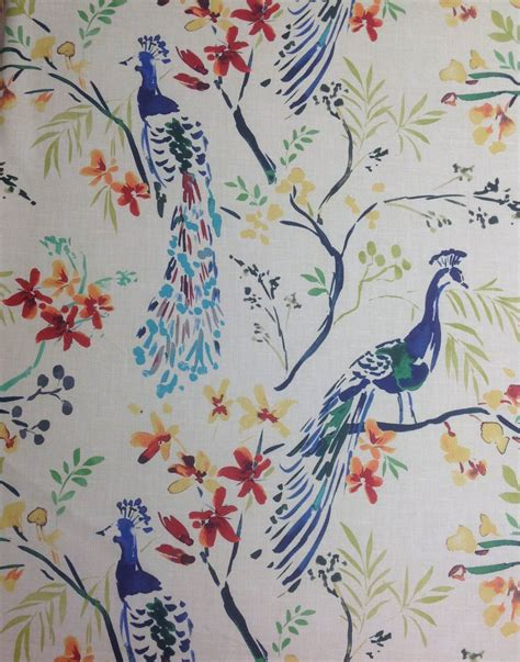 watercolor upholstery fabric hm118 peacock blue bird watercolor painting upholstery