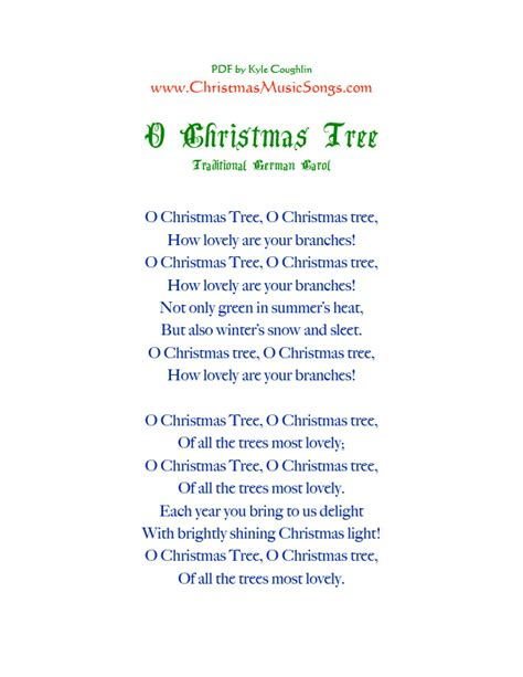 Printable Oh Christmas Tree Lyrics | o christmas tree lyrics