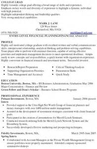 financial advisor resume sample experience resumes