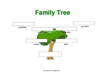 a simple full color three generation family tree with