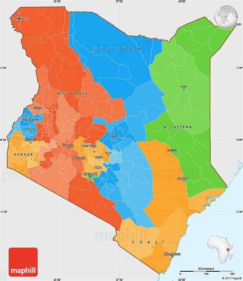 political simple map of kenya single color outside