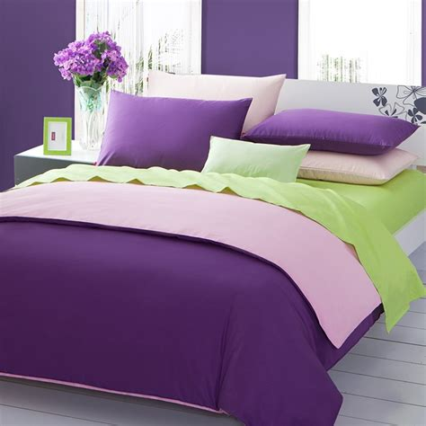 purple and green bedding green pink purple 3pieces color solid duvet covers satin