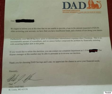 Letter Explanation Insufficient Funds Bank Letter Six Year S Allowance Denied In Hilarious Way