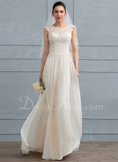 Floor Length Lace Dress by A Line Princess Scoop Neck Floor Length Chiffon Lace