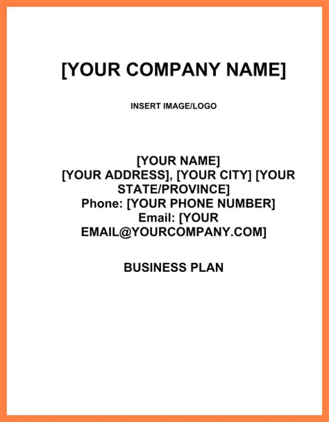 format of a business plan cover page 6 exle of cover sheet of a business plan bussines