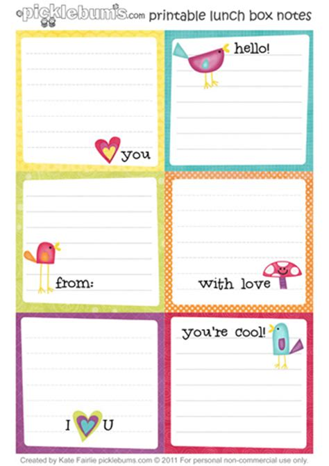 printable lunchbox notes 6 best images of printable notes printable daily notes