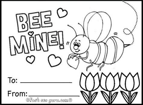 coloring page valentines day card printable bee mine valentine card coloring in printable