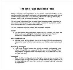 Free Business Plans Templates One Page Business Plan Example Pdf Template Free Download