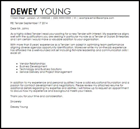 Cover Letter For Tender Tender Cover Letter Sle Livecareer