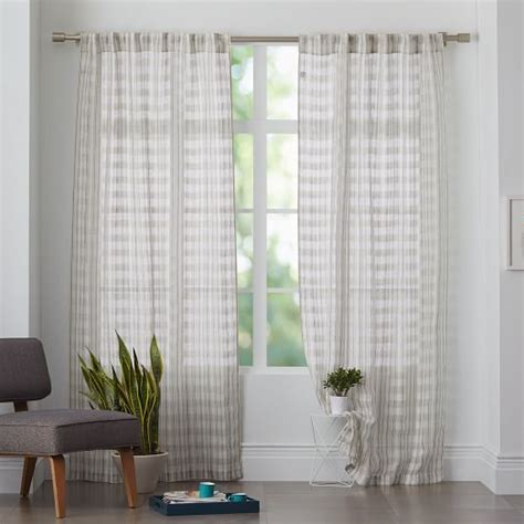 mid century curtains mid century sheer plaid curtain west elm