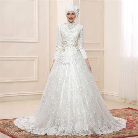 Best Seller Dress Merah Sw Pakaian Wanita Dress Warna Merah Lace Gown Sleeve Muslim Wedding Dresses