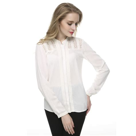 40083 White Sweet Lace Casual Blouse aliexpress buy lace floral white blouses brief cotton stand collar shrit
