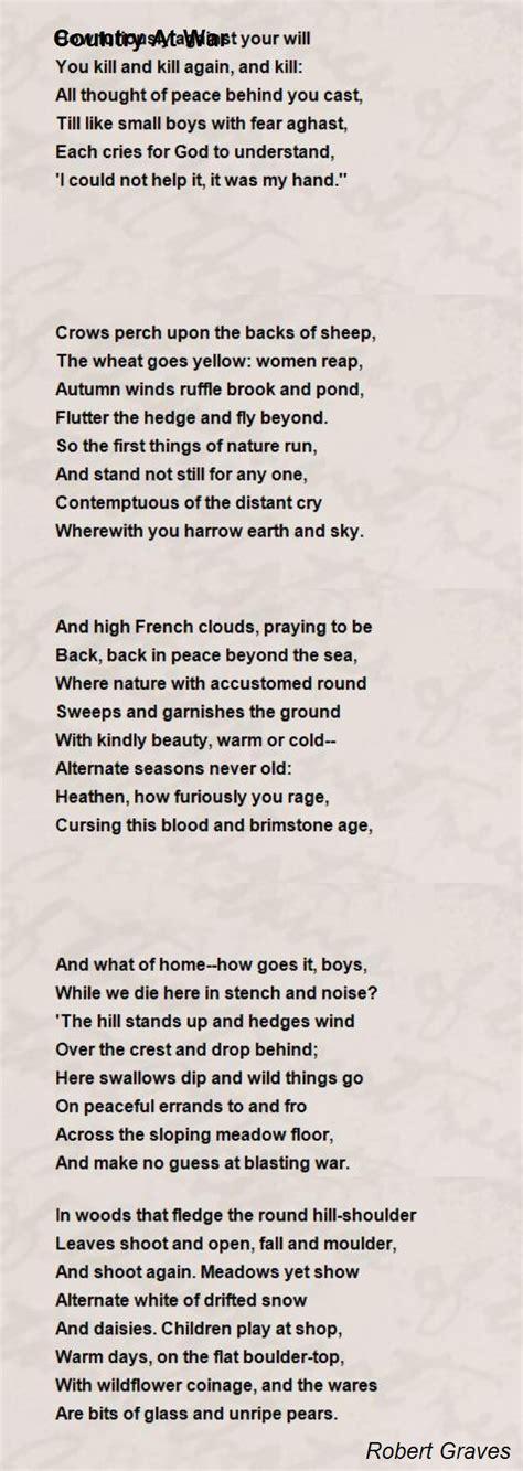 country at war poem by robert graves poem hunter