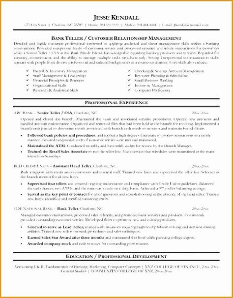 8 bank teller resume sle free sles exles