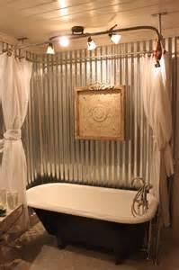 Bathroom Tin Walls Claw Foot Tub Farmhouse Bathroom