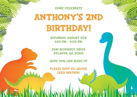 bday invitation templates 17 dinosaur birthday invitations how to sle templates
