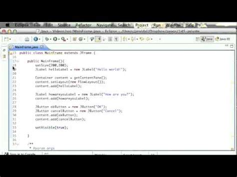 simple swing application java with eclipse juno part 4 create a simple swing ap
