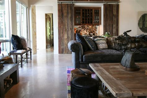 Industrial Rustic Living Room by Houzz Industrial Style In A Family Ranch