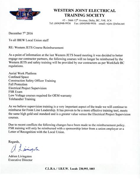 certification reimbursement letter a letter from wjets director some courses will