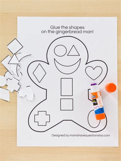 Go Go Cutting And Pasting gingerbread cut and paste preschool activity