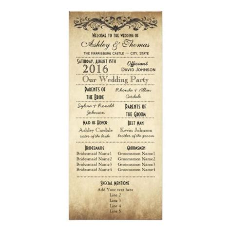 vintage wedding program templates vintage rustic typography wedding programs program