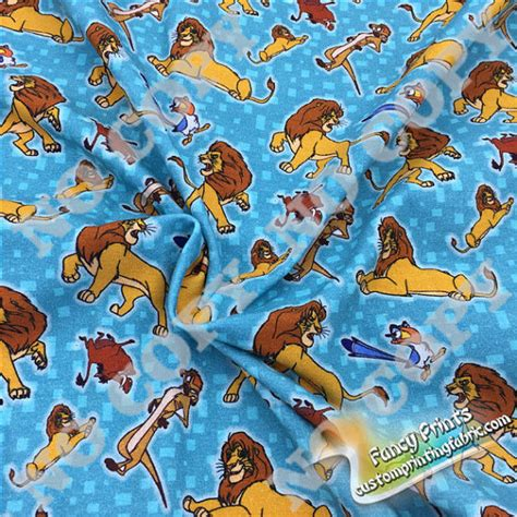 Upholstery Fabric Dyeing Service The Lion King Fabric Digital Printing Cotton Lycra Knit