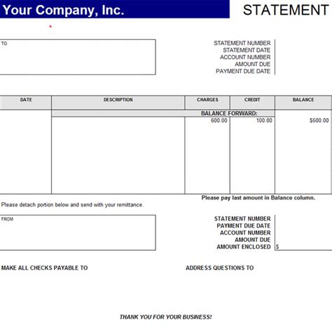 statement template statement of account statements templates