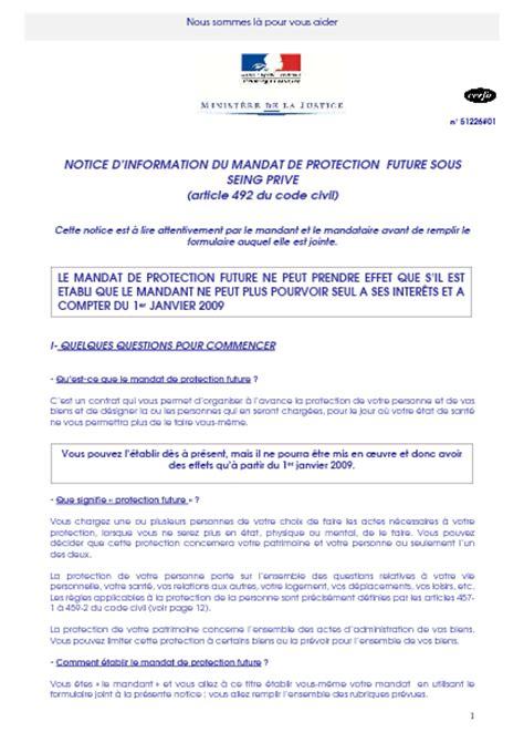Lettre Resiliation De Protection Juridique Notice D Information Du Mandat De Protection Future Sous Seing Priv 233 Formulaire Cerfa
