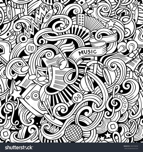 doodle less pool musicas handdrawn doodles seamless pattern stock