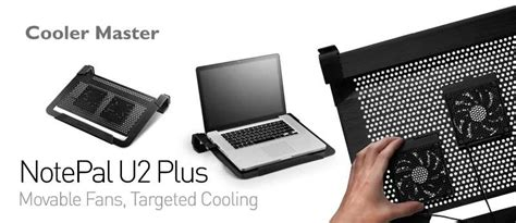Cooler Master Notepal U2 Plus Movable Fan Aluminium Cooling Pa cooler master notepal u2 plus laptop cooling pad with 2 movable high performance