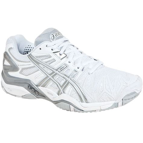 asics gel resolution 5 s tennis shoes white silver