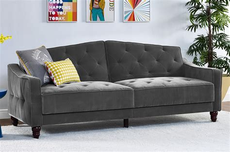 novogratz vintage tufted sofa sleeper dhp furniture novogratz vintage tufted back sofa
