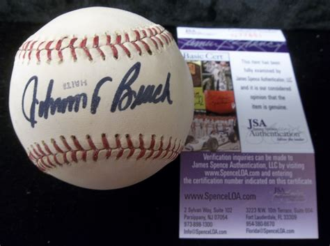 johnny bench signed baseball worth lot detail johnny bench autographed bsbl official worth