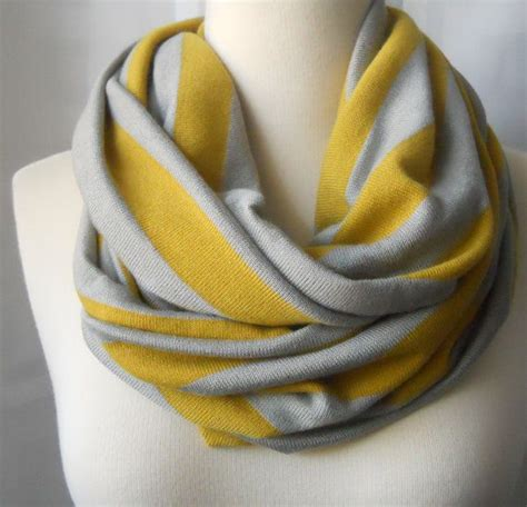 infinity scarf yellow and gray jersey wide